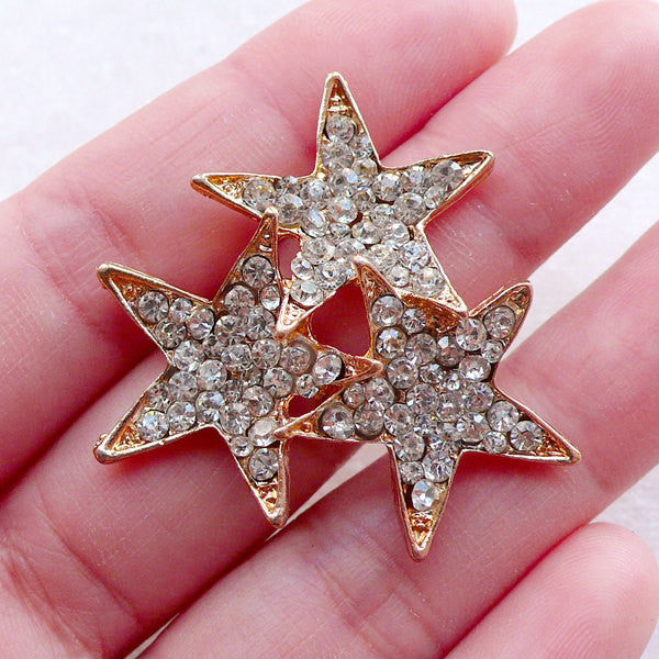 Triple Star Metal Cabochon w/ Bling Bling Rhinestones (1 piece / 35mm x 37mm / Gold) Brooch Hair Clip Making Decoden Phone Case CAB540