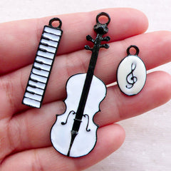 DEFECT Music Instrument Enamel Charms / G Clef Treble Clef Keyboard Violin Charm (3pcs / 19mm to 54mm / Black & White) Musician Gift CHM2369