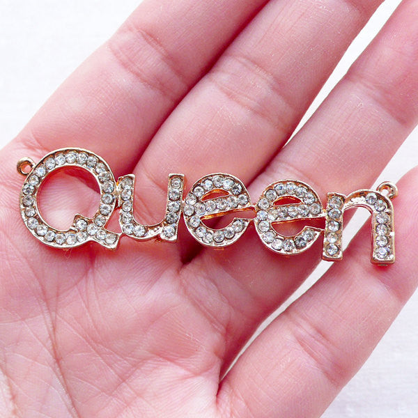 Queen Charm with Clear Rhinestones / Queen Word Metal Cabochon (1 piece / 59mm x 16mm / Gold) Bling Bling Pendant Necklace Decoden CHM2370