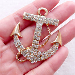 Big Anchor Charm with Clear Rhinestones / Large Anchor Metal Cabochon (1 pc / 43mm x 46mm / Gold) Bling Pendant Decoden Phone Case CHM2371
