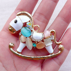 Large Rocking Horse Charm Pendant with Gems / Big Rocking Horse Metal Cabochon (1 piece / 50mm x 45mm / Gold) Kawaii Phone Case Deco CHM2374