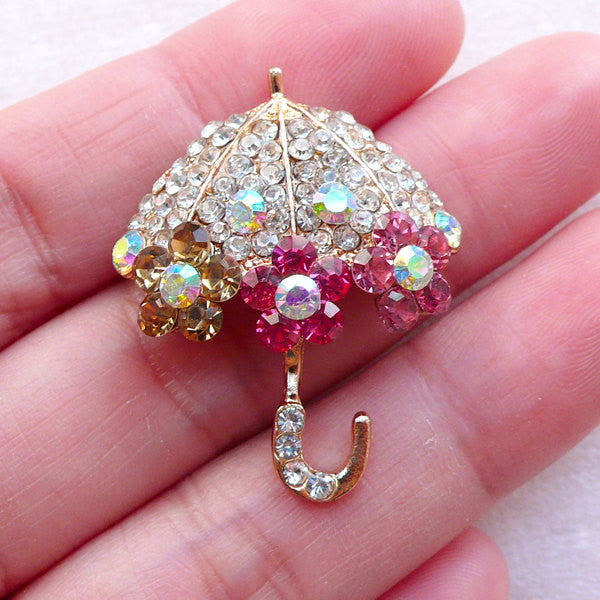 Bling Umbrella Metal Cabochon w/ Colorful Rhinestones (1 piece / 25mm x 32mm / Gold) Lolita Phone Case Decoration Kawaii Decoden CAB543