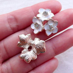 Triple Flowers Enamel Cabochon w/ Clear Rhinestones (2pcs / 22mm x 21mm) Floral Phone Case Deco Embellishment Decoden Hair Bow Center CAB544