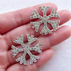 CLEARANCE Bling Bling Snowflakes Metal Cabochon w/ Clear Rhinestones / Christmas Snow Flakes (2pcs / 28mm / Silver / Flatback) Hair Bow Center CAB554
