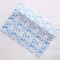 "Glassine Envelopes with Leaf Pattern / Waxed Paper Envelope in Oriental Porcelain Style (5pcs / 17.5cm x 12.7cm / 6.88"" x 5"" / Blue) S332"