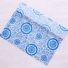 "Glassine Envelopes with Floral Pattern / Wax Paper Envelope in Oriental Porcelain Style (5pcs / 17.5cm x 12.7cm / 6.88"" x 5"" / Blue) S333"