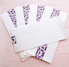 "Policy Envelopes with Scroll Pattern / Long Open End Envelope / Bag Envelopes (5pcs / 11cm x 22cm / 4.33"" x 8.66"" / White & Purple) S354"