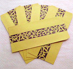"Kraft Bag Envelopes with Scroll Pattern / Long Open End Square Flap Envelope (5pcs / 11cm x 22cm / 4.33"" x 8.66"" / Brown & Purple) S355"