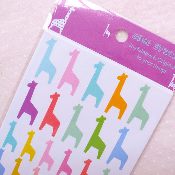 Colorful Giraffe Stickers / Animal Sticker (6 Sheet / 228pcs) Planner Deco Stickers Baby Shower Invitation Card Making Favor Decoration S341