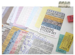 Whimsical Masking Sticker Set Ver. Paper (27 Sheets / Barcode, Metro Map, Writing Paper, Sheet Music, Train Ticket, etc) Collage  S349
