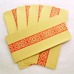 "Kraft Envelopes with Scroll Pattern / Long Policy Envelope (5pcs / 11cm x 22cm / 4.33"" x 8.66"" / Brown & Red) Open End Bag Envelope S353"