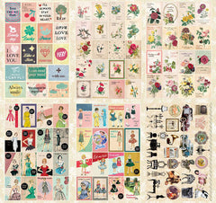 Multipurpose Photograph Stickers / Iconic Deco Pack by Bentoy (24 sheets / 300-400pcs) Nostalgia Antique Vintage Home Decor Diary Deco S356
