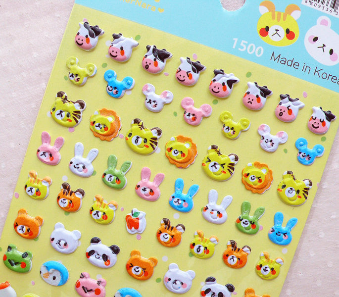 Animal Puffy Deco Stickers (1 Sheet) Cow Mouse Lion Tiger Rabbit Bear Panda Frog Penguin Chicken Pig Cat Sheep Monkey Koala Elephant S361