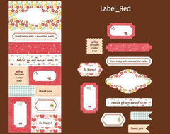 Fabric Stickers - Label Red (1 Sheet) Home Decor Party Decoration Calendar Organzier Diary Journal Planner Deco Sticker Card Making S363