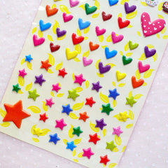 CLEARANCE Cupcake Heart Star Puffy Sticker (1 Sheet) Kawaii Deco Sticker Card Making Wedding Embellishment Valentines Day Gift Packaging Supplies S367