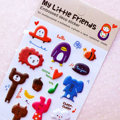 Cute Puffy Stickers / My Little Friends Embossed Deco Stickers (1 Sheet) Kawaii Embellishment Scrapbooking Journal Planner Decoration S375