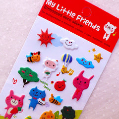 Animal Puffy Stickers / My Little Friends Embossed Deco Stickers (1 Sheet) Kawaii Home Decor Cute Diary Organizer Calendar Decoration S376