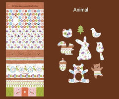 Animal Fabric Stickers (1 Sheet) Home Decoration Party Decor Scrapbooking Favor Packaging Diary Journal Deco Sticker Card Embellishment S364