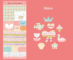 Fabric Satin Stickers - Ribbon (1 Sheet / Flower, Peace Dove, Heart, Crown, Duck, etc) Seal Stickers Product Packaging Deco Stickers S366