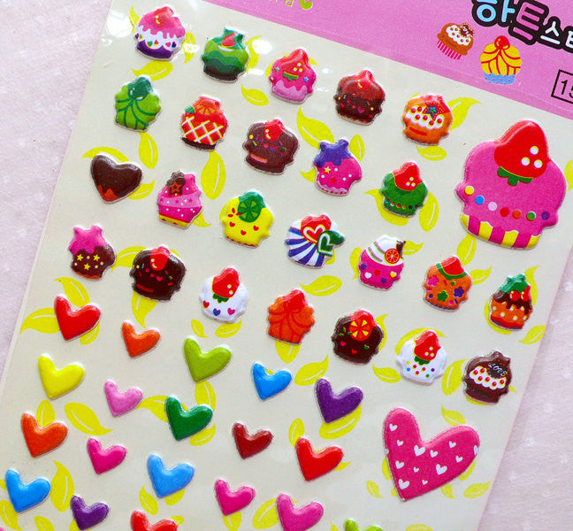 Cupcake Heart Star Puffy Sticker (1 Sheet) Kawaii Deco Sticker Card Making Wedding Embellishment Valentines Day Gift Packaging Supplies S367