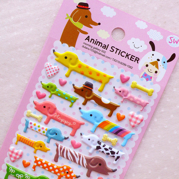 Dachshund Puffy Stickers / Colorful Dog Stickers / Cute Animal Stickers (1 Sheet) Kawaii Deco Sticker Baby Shower Decoration Scrapbook S370