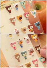 Bear Puffy Stickers / My Little Friends Embossed Deco Stickers / Kawaii Animal Sticker (1 Sheet) Baby Shower Decor Diary Decoration S373