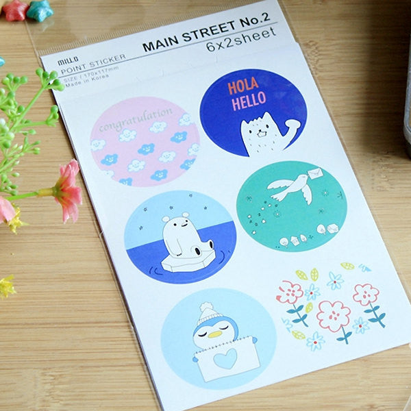 Colorful Seal Stickers / Assorted Party Animal Flower Deco Sticker (2 Sheets / 12pcs) Kawaii Card Making Scrapbooking Embellishment S378