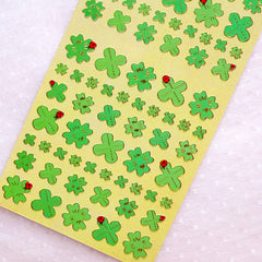 Four Leaf Clover Stickers / Gold Foil Floral Deco Stickers (1 Sheet) Home Decor Organzier Diary Planner Card Making Phone Case Sticker S391