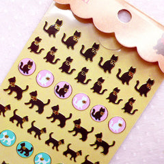 Black Cat Stickers / Gold Foil Animal Deco Stickers (1 Sheet) Scrapbooking Embellishment Home Decor Cell Phone Decoration Card Making S394