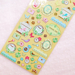 Spring Deco Stickers with Gold Foil (1 Sheet / Bird Ornate Frame Princess Four Leaf Clover Flower) Cute Diary Embellishment Card Making S396
