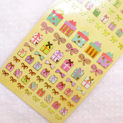 Present Stickers / Gift Box Sticker / Gold Foil Deco Stickers (1 Sheet) Birthday Party Supplies Card Embellishment Scrapbook Gift Wrap S397