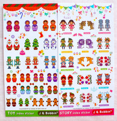 CLEARANCE Antique Toy & Fairytale Stickers (2 Sheets / Russian Doll Christmas King Soldier Fairy Tale Children Novel Characters) Planner Stickers S417