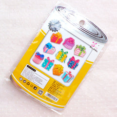 Kawaii Stickers / Present Gift Box PVC Flake Stickers / Photo Soup Deco Stickers / Diary Stickers (Around 70pcs) Card Embellishment S402
