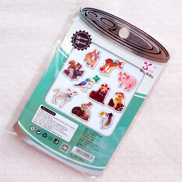 Farm Animal Sticker Flakes / Photo Soup Deco Stickers / PVC Flake Stickers  / Clear Seal Sticker (Around 70pcs) Gift Packaging Supplies S404