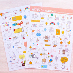 Happy Day Stickers from Korea / Kawaii Stickers (2 Sheets) Birthday Card Making Bubble Speech Sticker Party Decoration Gift Packaging S415