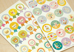 Animal Badge Stickers from Korea / Kawaii Rabbit Bear Seal Stickers (2 Sheets) Etsy Product Packaging Supplies Cute Favor Decoration S416