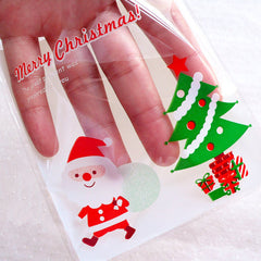 Merry Christmas Cello Bags / Cute Santa Claus & Christmas Tree Plastic Bags / Self Adhesive Gift Bags (10cm x 11cm / 20pcs / White) GB159