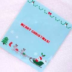 Santa Claus & Reindeer Cello Bags / Merry Christmas Gift Bags / Self Adhesive Plastic Bags (10cm x 11cm / 20pcs / Blue) Packaging GB162