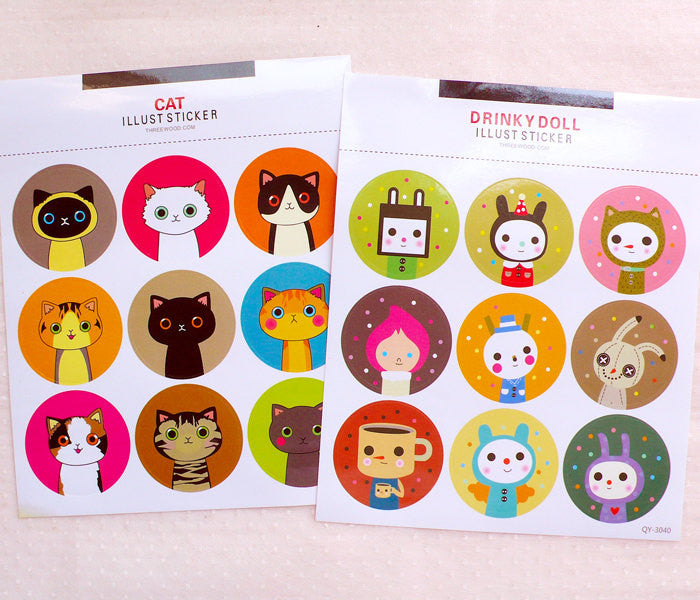Animal Seal Stickers (Drinky Doll & Cat / 2 Sheets) Etsy Product Packaging Supplies Kawaii Home Decor Favor Wrapping Gift Decoration S425