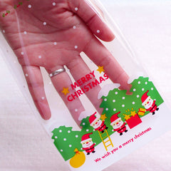 Merry Christmas Packaging Bags Santa Claus Plastic Bags Clear Gift Bags Colorful Holiday Cello Bags 12cm X 18 5cm 20pcs Gb166