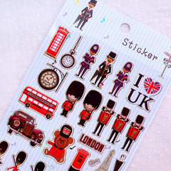 I Love UK Stickers with Gold Foil (1 Sheet / Queen's Guard, Telephone Booth, London Bus, Carriage, Post Box Stand, Antique Car, etc) S421