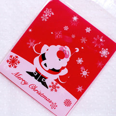 Santa Claus Cello Bags / Merry Christmas Gift Bags / Self Adhesive Plastic Bags (10cm x 11cm / 20pcs / Red) Kawaii Holiday Packaging GB165
