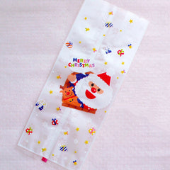 Long Santa Claus Cellophane Bags / Colorful Holiday Gift Bags / Merry Christmas Plastic Bags (10cm x 24cm / 20pcs) Cookie Treat Candy GB164
