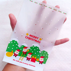 Merry Christmas Packaging Bags / Santa Claus Plastic Bags / Clear Gift Bags / Colorful Holiday Cello Bags (12cm x 18.5cm / 20pcs) GB166