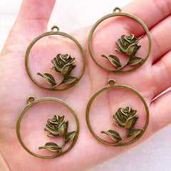 Round Rose Charms (4pcs / 33mm x 36mm / Antique Bronze) Floral Jewelry Flower Pendant Wedding Favor Charms DIY Handbag Purse Charms CHM2376