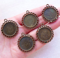 Bezel Tray with Filigree Border / 20mm Round Cameo Setting / Cabochon Holder (5pcs / Antique Bronze) Collage Sheet Photo Memory Pendant F325
