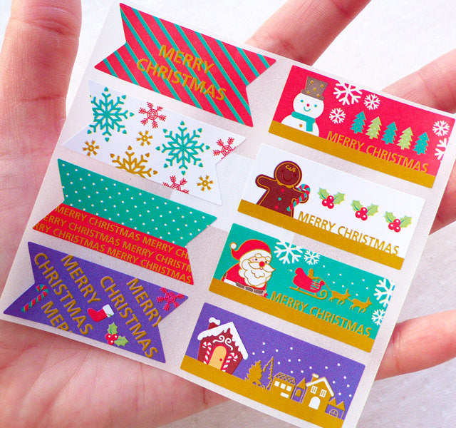 Assorted Christmas Deco Stickers / Colorful Merry Christmas Stickers (1 Sheet / 8pcs) Party Supplies Favor Packaging Present Decoration S426
