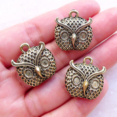 Owl Head Charms (3pcs / 19mm x 21mm / Antique Gold) Bird Jewellery Animal Pendant Earrings Bracelet Key Chain Purse Handbag Charm CHM2379