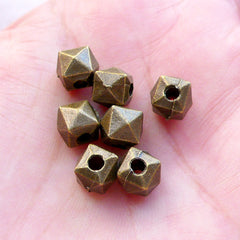 Faceted Geometric Beads / Cube Bead (7pcs / 7mm x 7mm / Antique Bronze) Hexagon Bracelet Polygon Jewellery Spacer Loose Bead Slider CHM2382