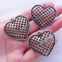 Large Heart Charms / Big Heart Pendant (3pcs / 35mm x 35mm / Tibetan Silver) Wedding Decor Valentines Day Gift Packaging Love Charm CHM2387